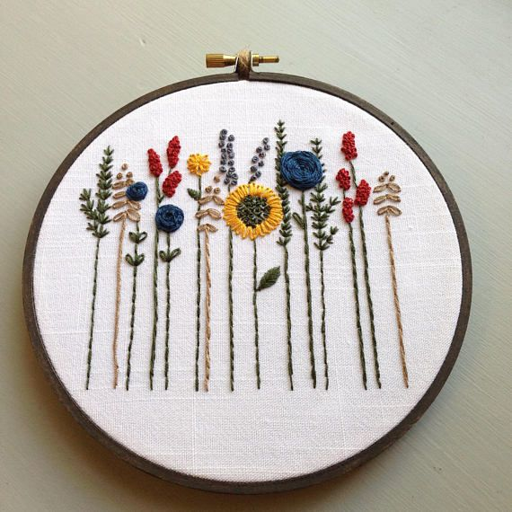 Floral Hoop Art, Wildflower Hand Embroidery Embroidered Flowers ...