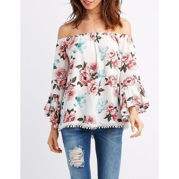 a1d8eb565d3368 Charlotte Russe Floral Off-The-Shoulder Bell Sleeve Top ( 23) ❤ liked on  Polyvore featuring tops