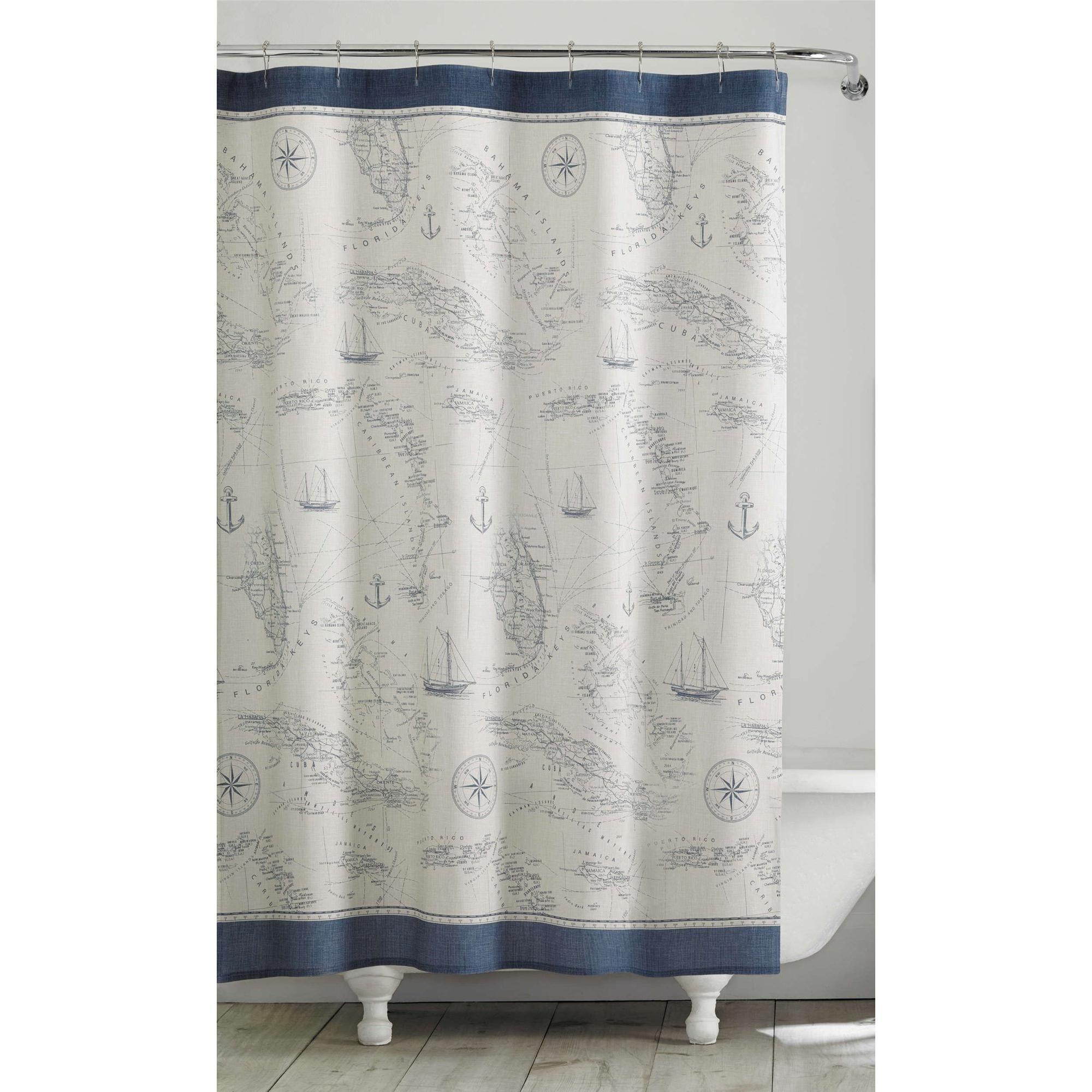 Tommy Bahama Caribbean Sea Blue Shower Curtain Blue Shower Curtains Curtains Caribbean Sea