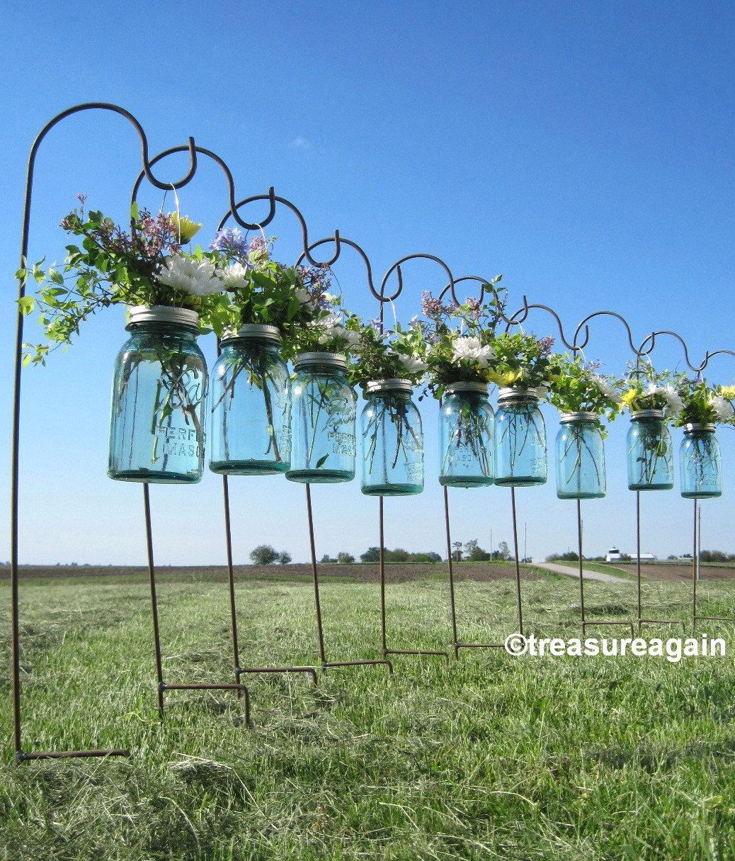 6 Mason Jar Shepherd Hooks For Mason Jar Wedding Flowers Etsy Mason Jar Flowers Hanging Vases Mason Jar Wedding