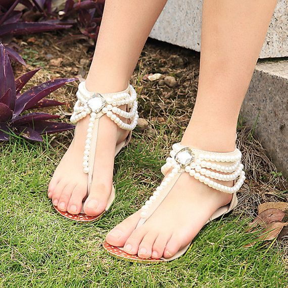 Handmade Bridal Shoes Comfortable Flats sandal Swarovski Crystal ...