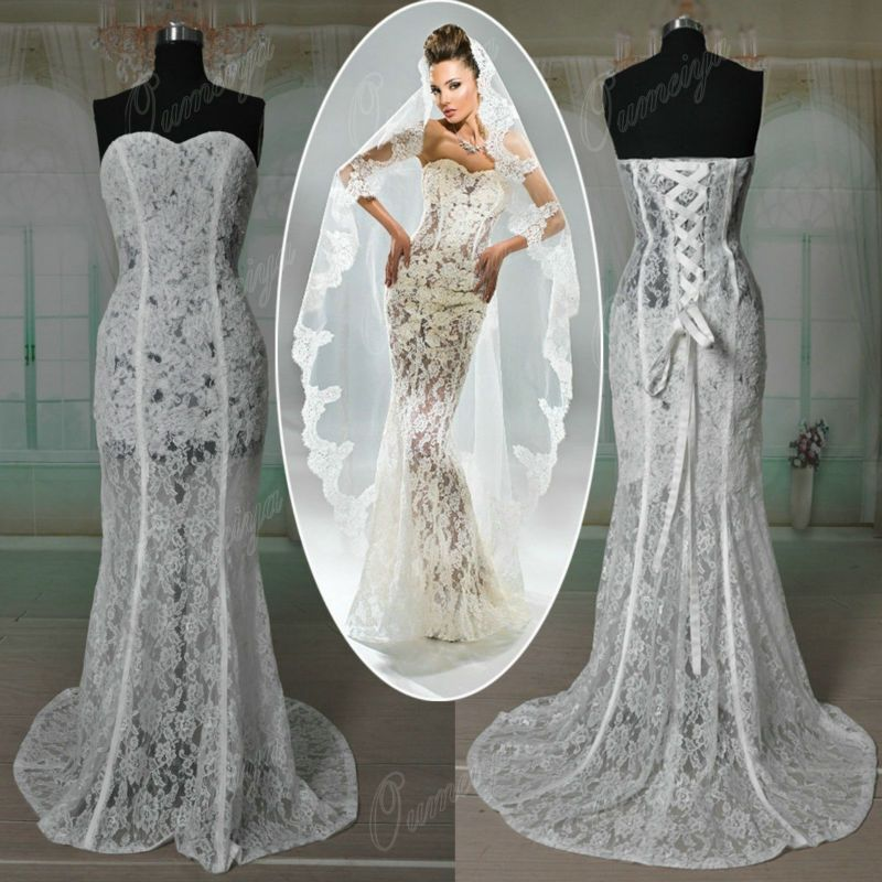 OUMEIYA RWD116 Custom Made Mermaid Lace Transparent Bodice See Through Corset Wedding Dress