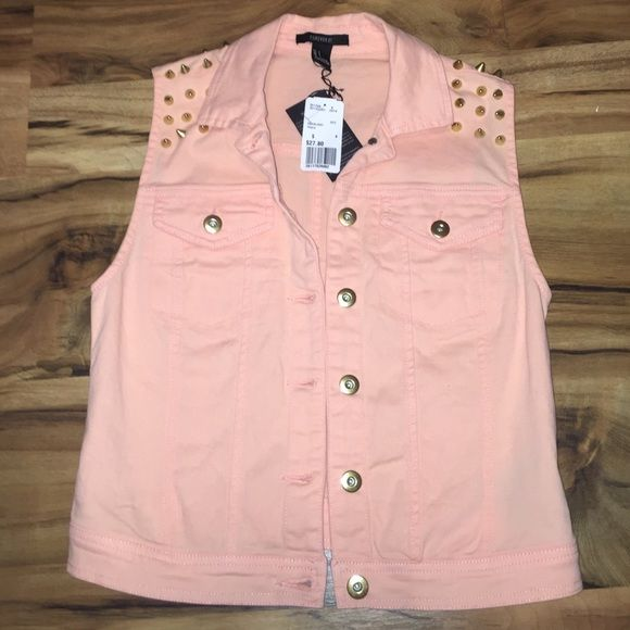 Studded vest Brand new never worn forever 21 studded vest. Peach color no rips or stains Forever 21 Jackets & Coats Vests