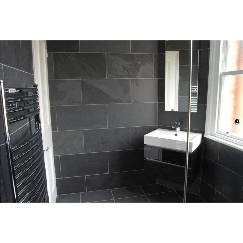 Mrs Stone Store Natural Stone Tiles Brazilian Black Natural Riven Slate Tiles 400x400 Natural Stone Tile Bathroom Slate Shower Tile Slate Bathroom