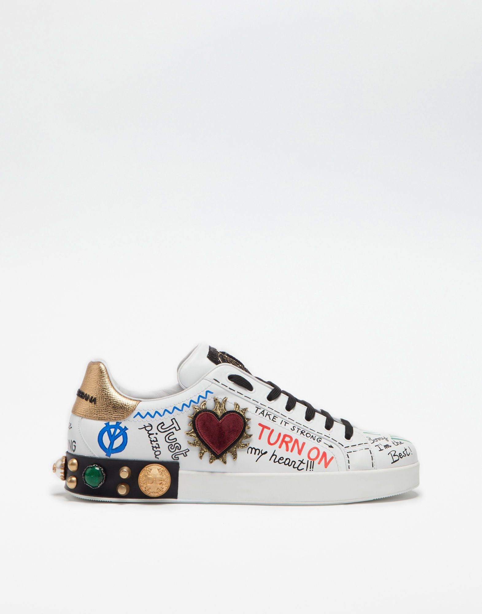 26dda6ef8ee DOLCE   GABBANA PRINTED LEATHER  sneakers WITH EMBELLISHMENTS.   dolcegabbana  shoes