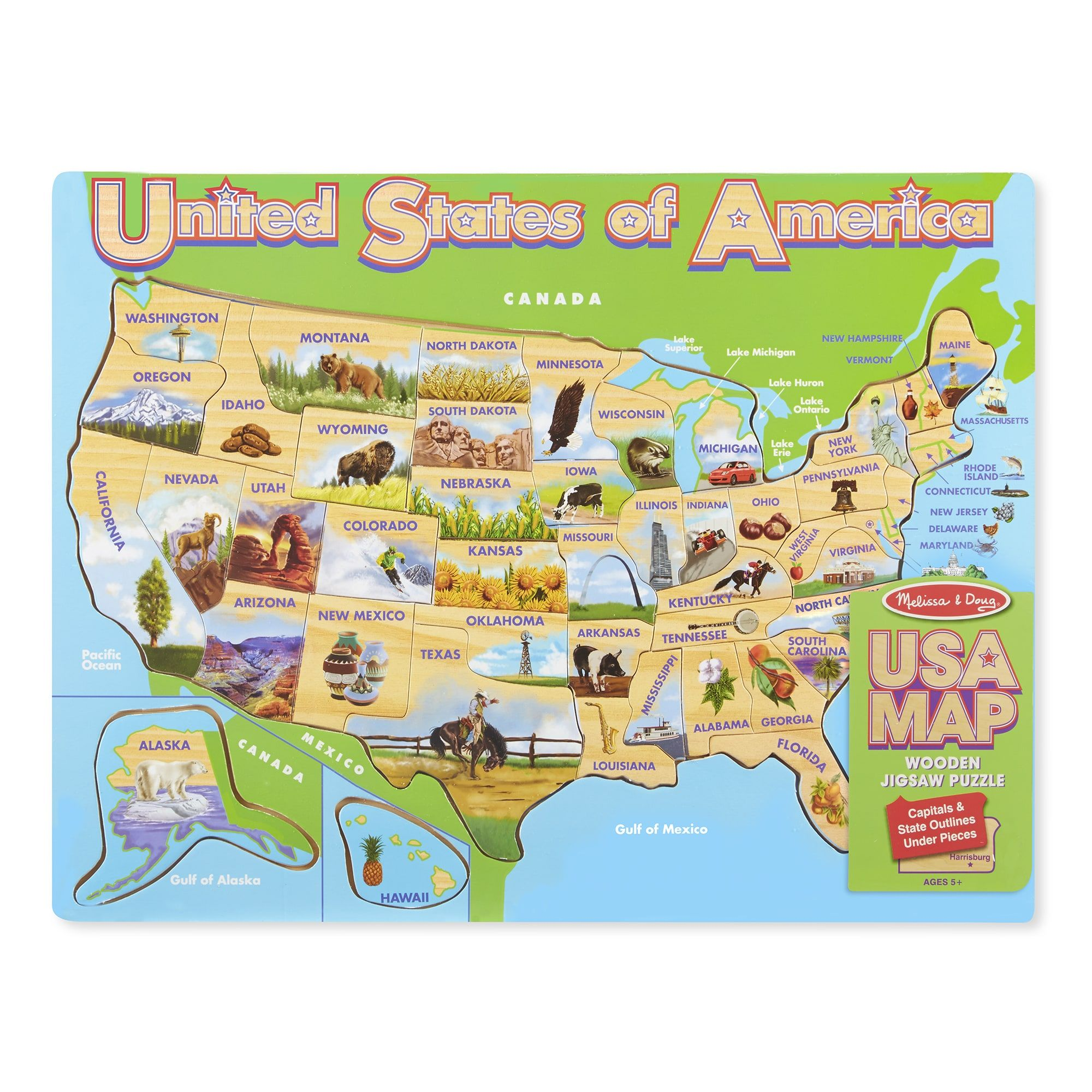 Melissa & Doug USA Map Jigsaw Puzzle | Products | Pinterest | Sports ...