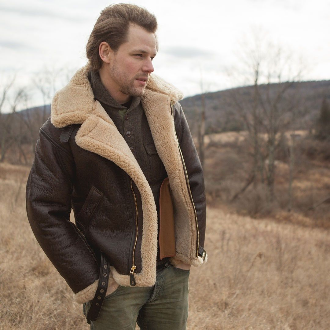 Man In R A F Sheepskin Bomber Jacket Celebrities Leather Jacket Leather Jacket Men Leather Jacket [ 1080 x 1080 Pixel ]
