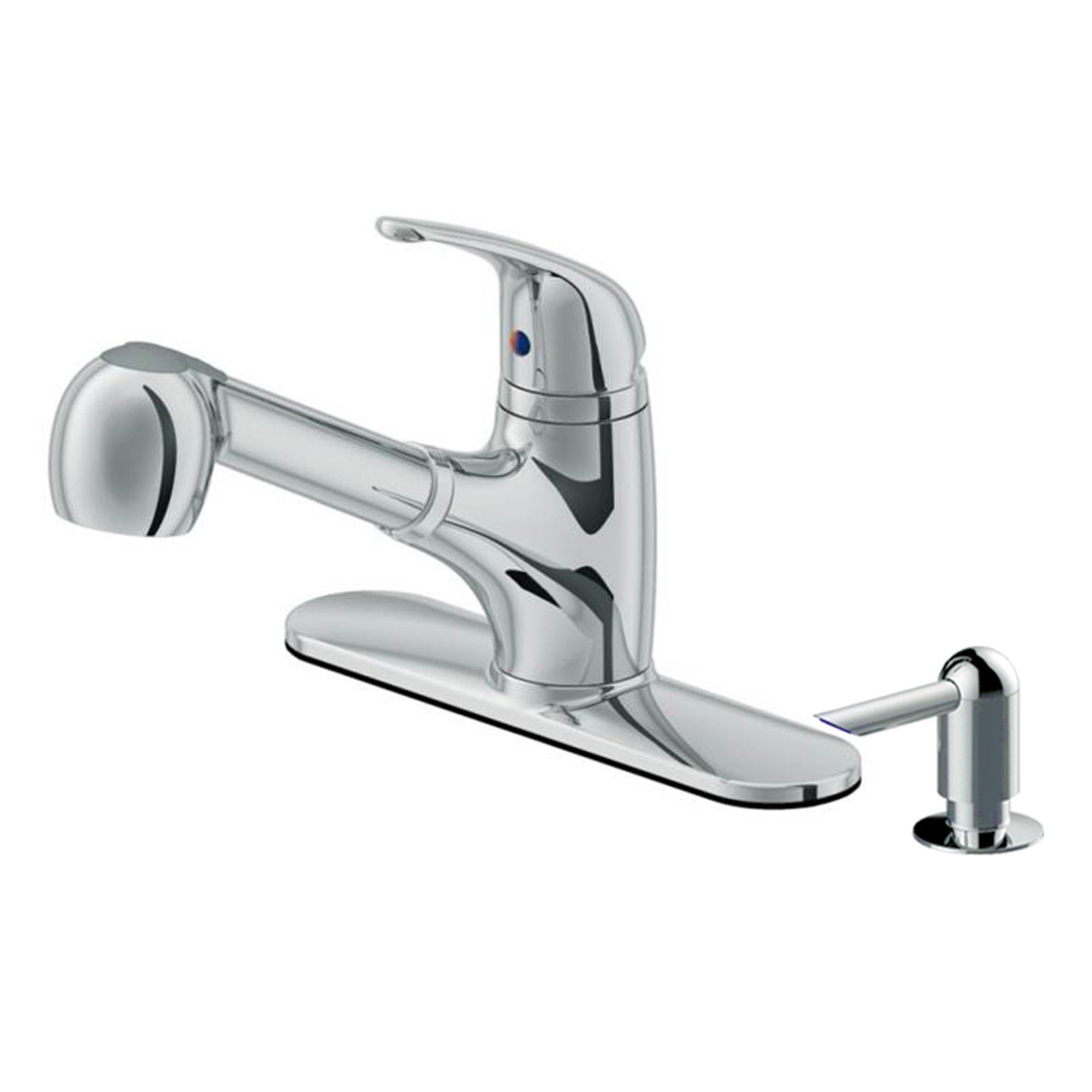 Low Profile Pull Out Kitchen Faucet With Dispenser In Chrome