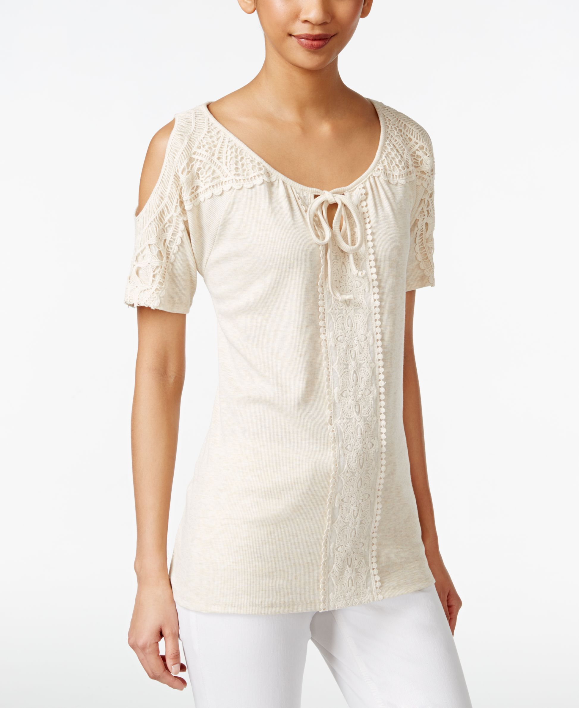 bbdab2f6facba3 Style   Co. Crochet Cold Shoulder Peasant Top