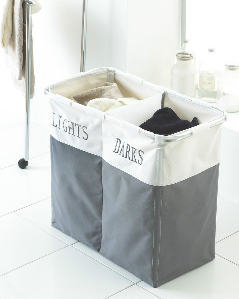 White tilt out clothes storage basket bin bathroom drawer ebay - Twin Foldable Laundry Washing Clothes Basket Bin Hamper Light And Dark In Home Furniture