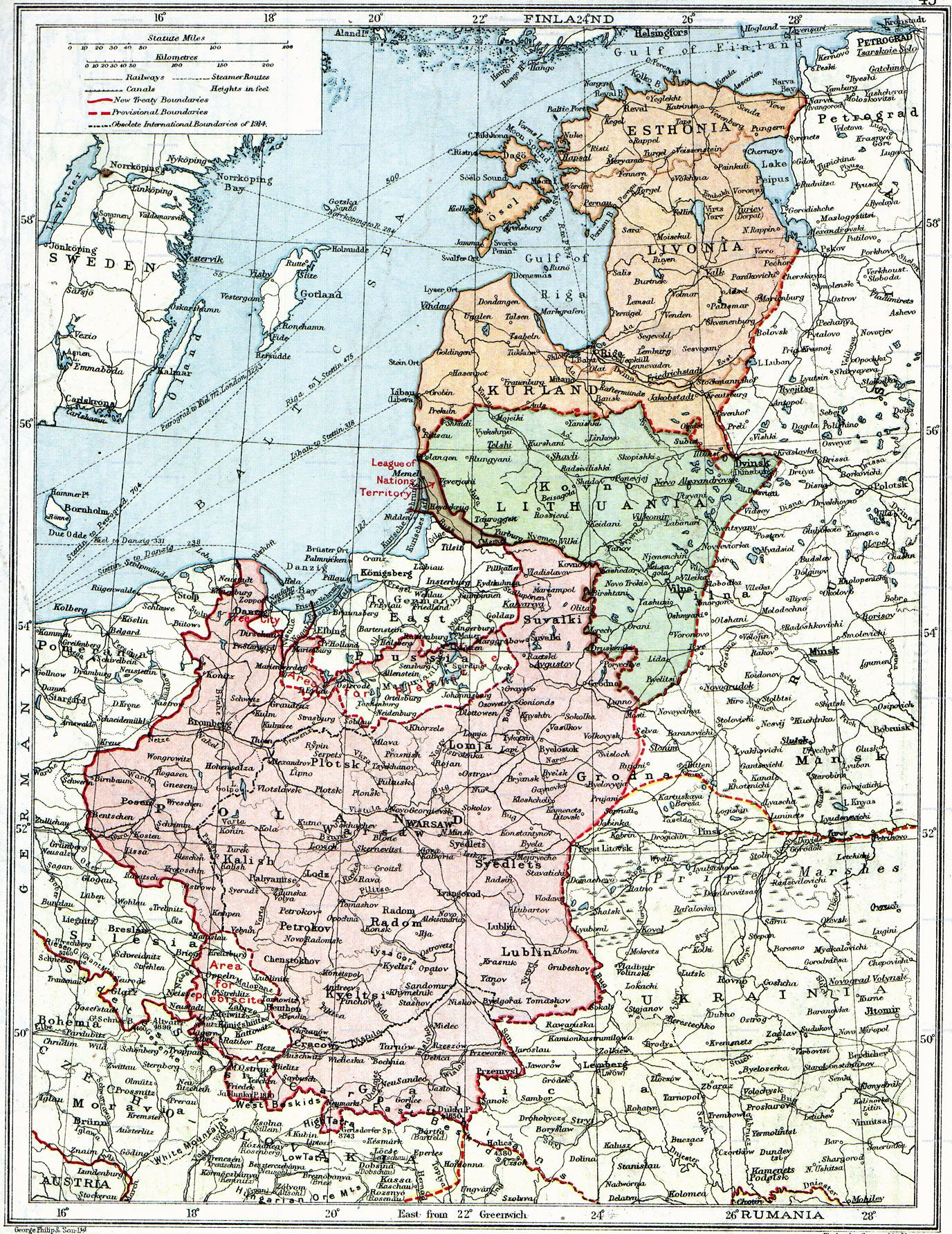 Poland  The New Baltic States The map shows the situation after