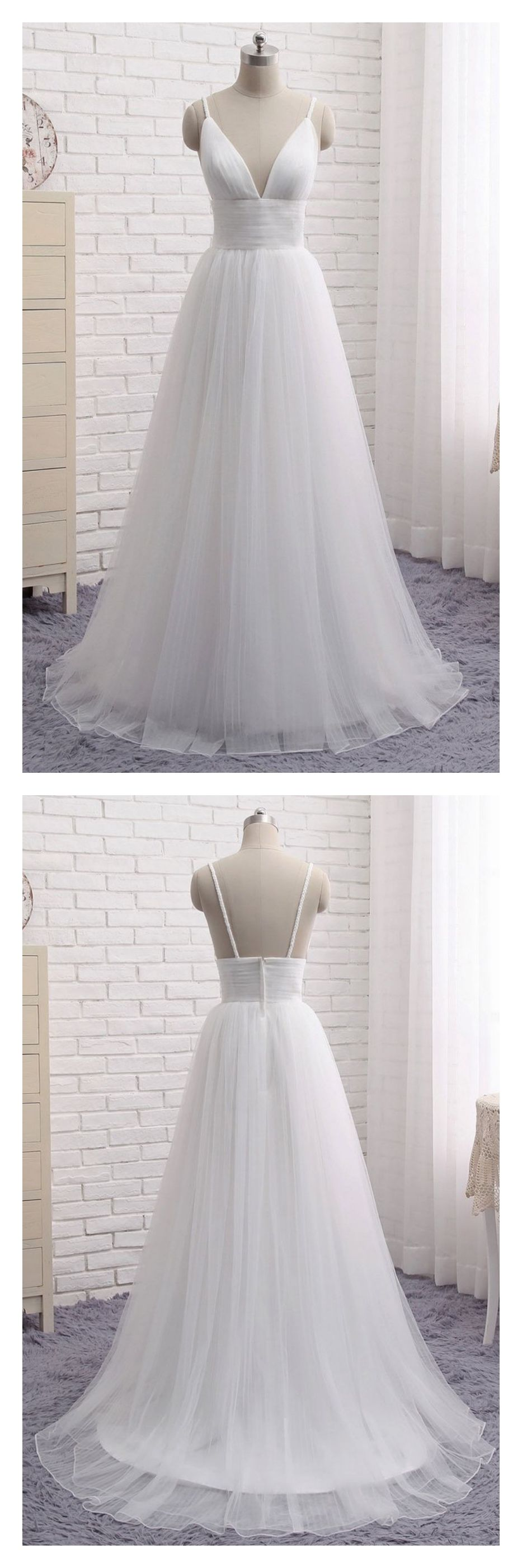 A line white long tulle prom dresses evening gowned teen