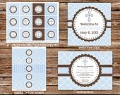 Items similar to Custom Printable Seafoam and Brown Dedication, Christening, Baptism Party Package on Etsy
