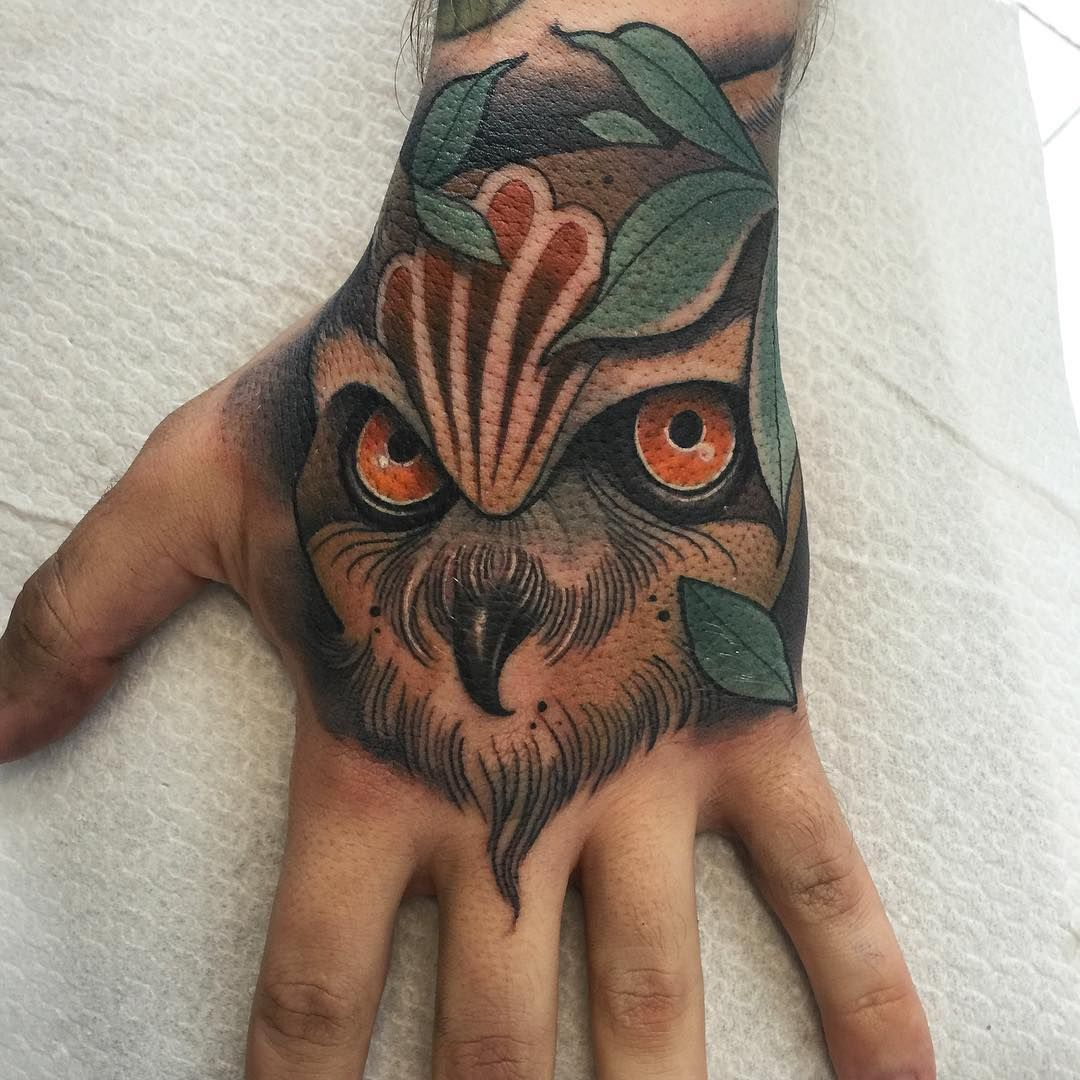 Owl This Morning Thanks Jordan Neotraditional Owltattoo Owl Tattoo Traditional Hand Tattoo Owl Tattoo Design