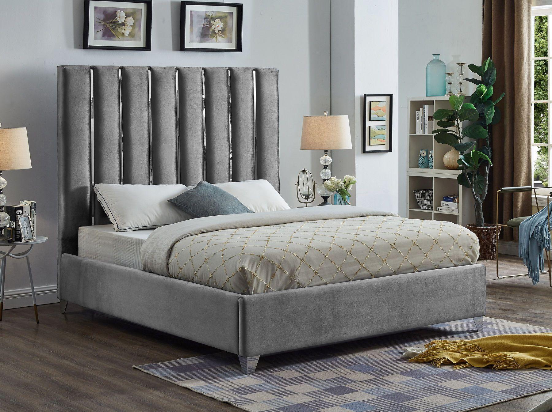 Enzo Gray Full Size Bed Grey velvet bed, Meridian