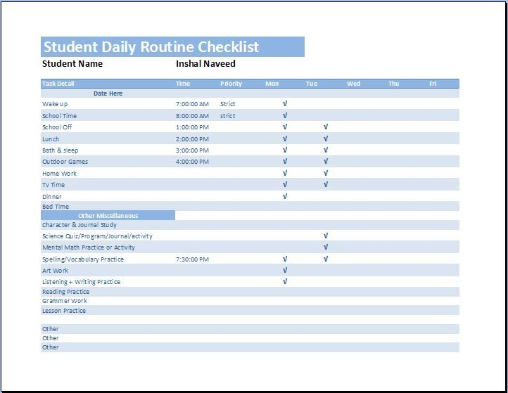 Student Daily Routine Checklist At WordtemplatesbundleCom