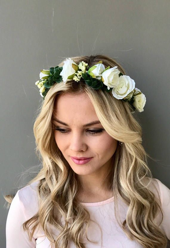 Wedding Headband Flower Hair Wreaths Flower Crown Bride Hair Garland Hair Accessories with Ribbon for Bride and Bridesmaids Favors Style A