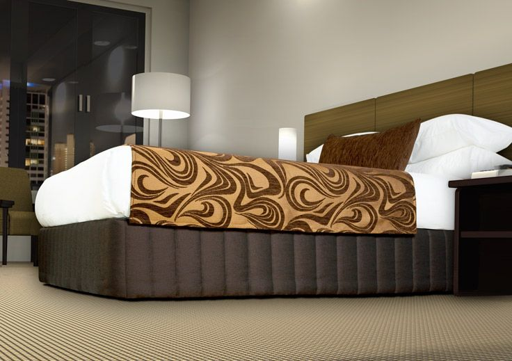 "Suite style Picket Quilted Bed Valance - ""Siam"" Ironbark, Luxury Cover - ""Diva"" Choc/Gold"