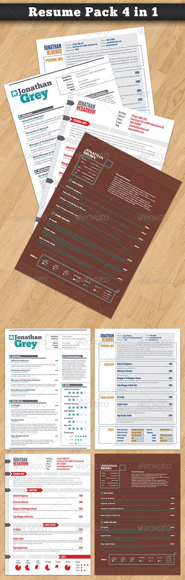 Super One Page Resumes Bundle  In   Resume Cv Brochures And