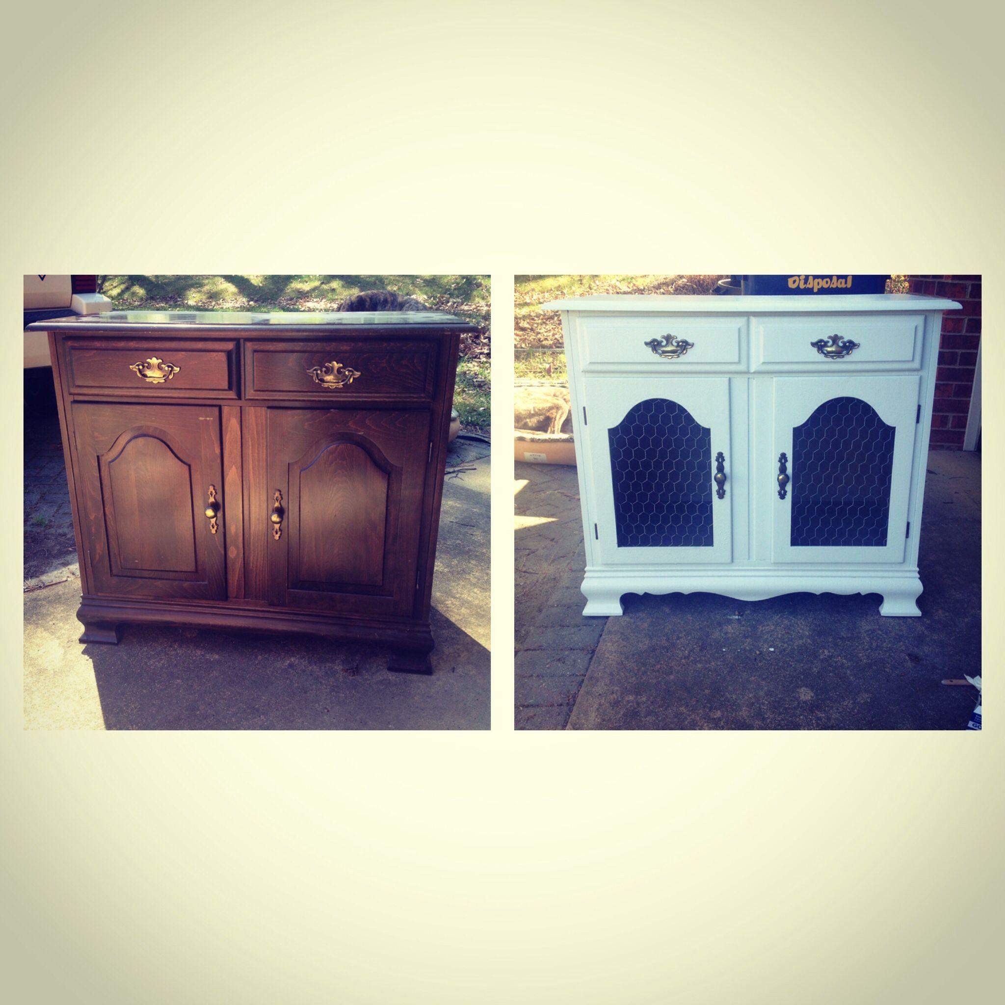 Repurposed antique cabinet for a bunny rabbit cage. Much prettier ...