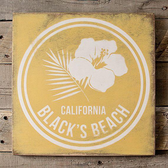 Black\'s Beach Wood Sign; Beach Wall Art; Beach Wall Decor | Baltic ...