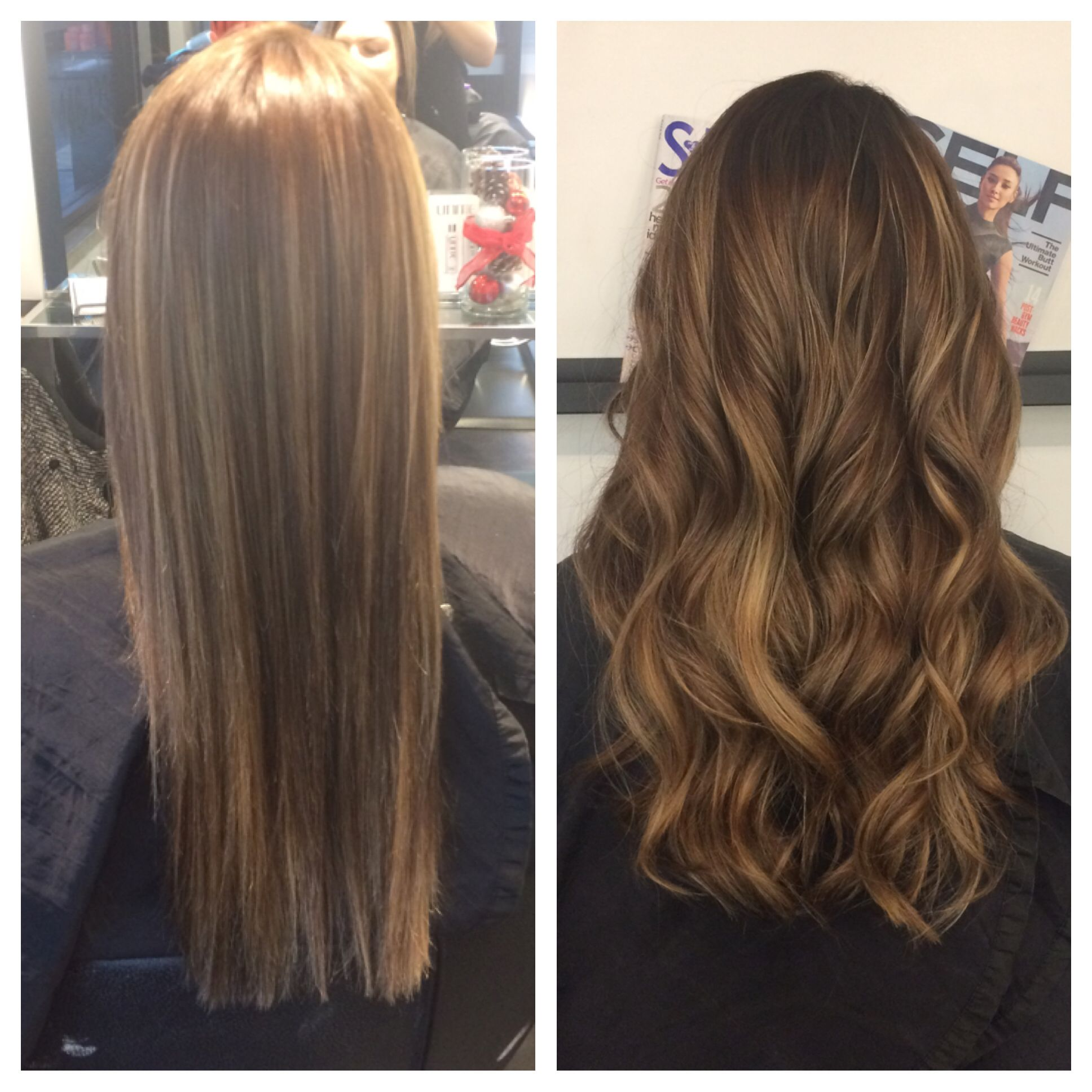 Golden Blonde Balayage On Dark Brown Hair Straight Vs Curly Balayage Hair Blonde Long Balayage Hair Blonde Blonde Balayage
