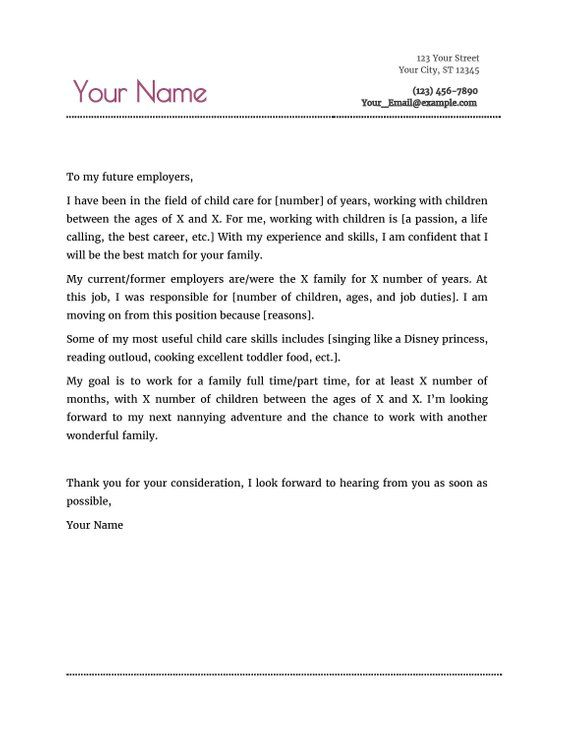 Nanny Resume  Cover letter Academia Pinterest Resume cover