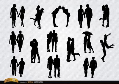 set with 14 silhouettes of couples in love holding hands kissing
