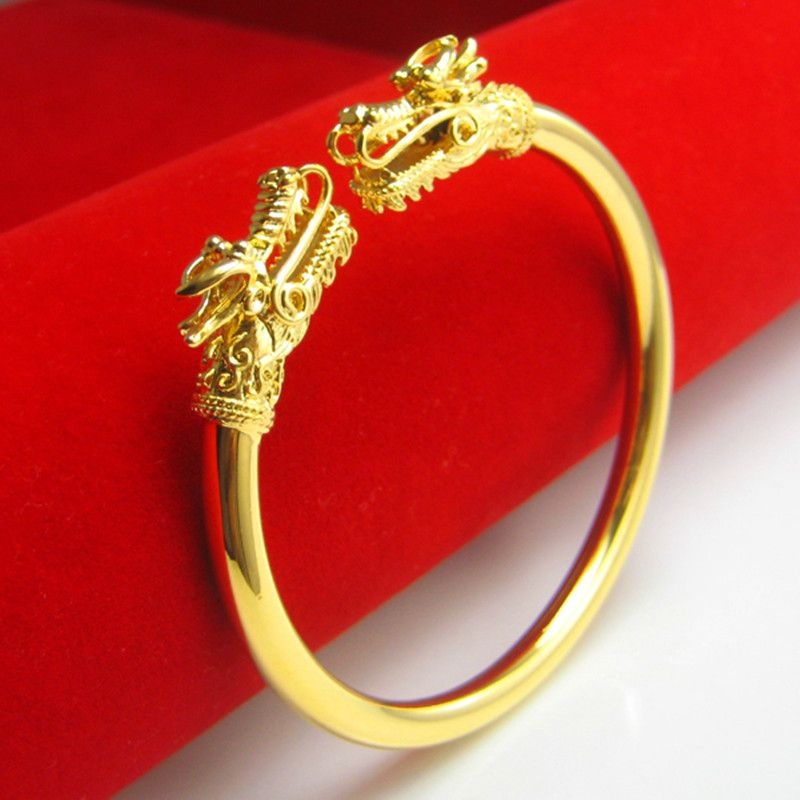 Double Dragon Head Smooth Cuff Bangle Men Women Yellow Gold Filled Charm Bracelet High Polished