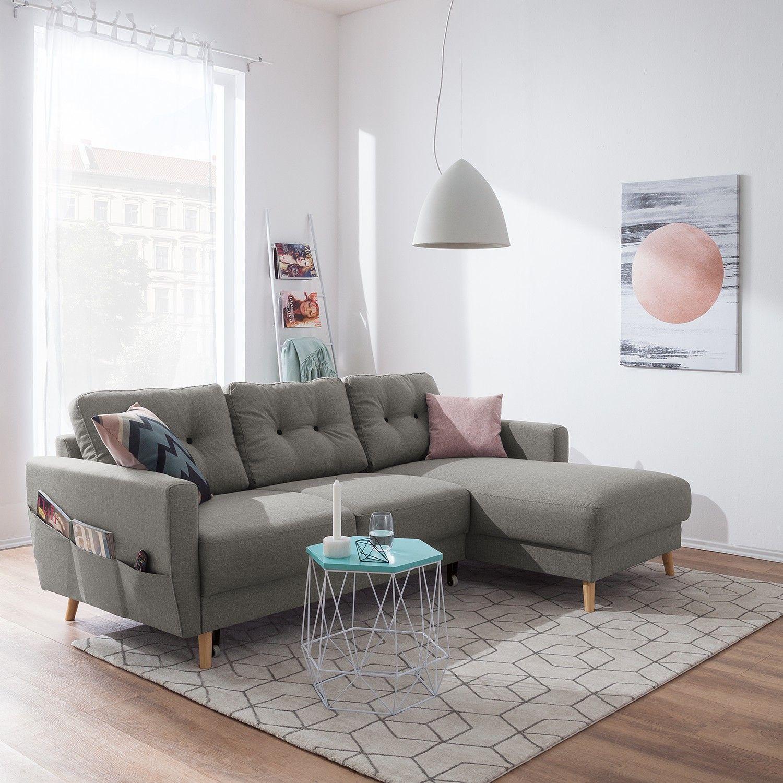 Moerteens Ecksofa Sola 2 Sitzer Grau Flachgewebe 225x86x147 Cm Mit Schlaffunktion Und Bettkasten In 2020 Corner Sofa Sofa Sectional Couch