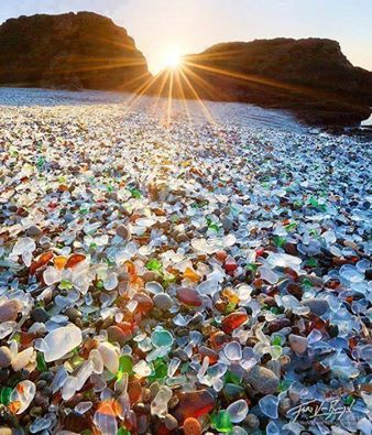 Sea Glass Beach, Fort Bragg, CA, up until 1967, this area was used as a sort of dump for locals. Fires were set to reduce the refuse of trash dumped there, and with the effects of surf and time, the area transformed and became covered in pieces of smooth sea glass, of all colors and sizes. It's like walking over gemstones. The beach is now protected, and therefore it is prohibited to remove any pieces of glass form there. It is simply for admiration.