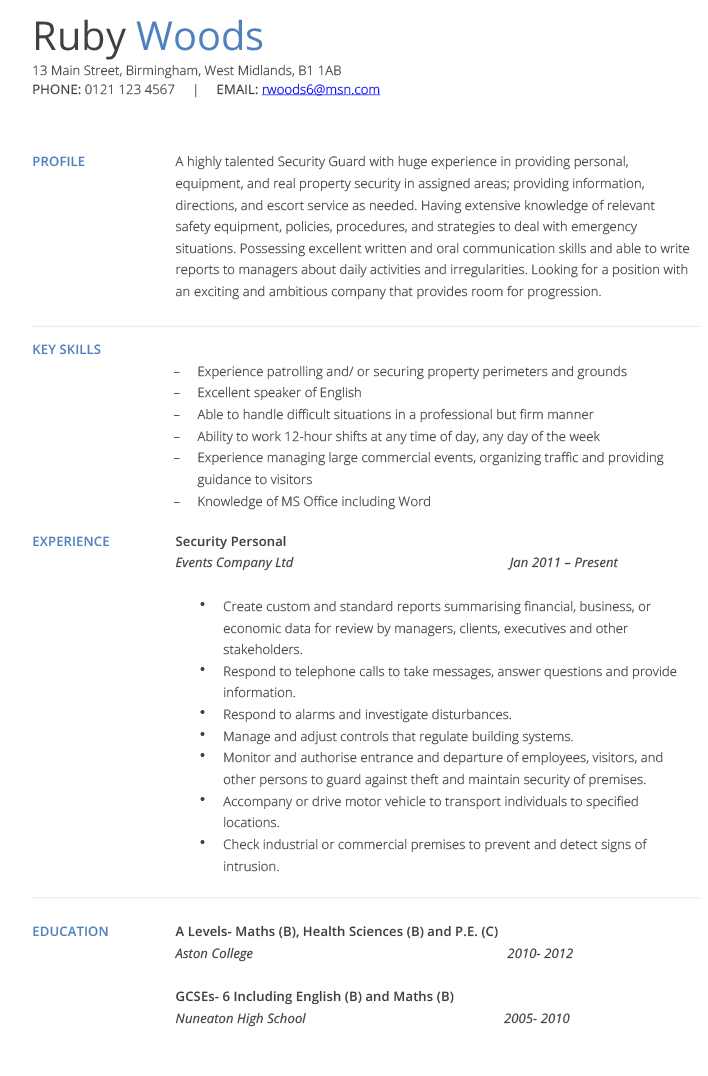 armed security guard resume sample