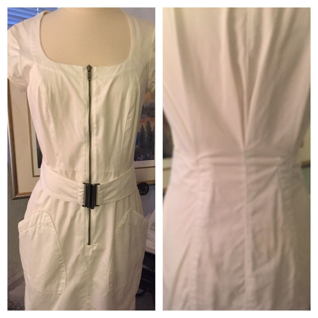 Chic White Zippered Dress By French Connection. 2