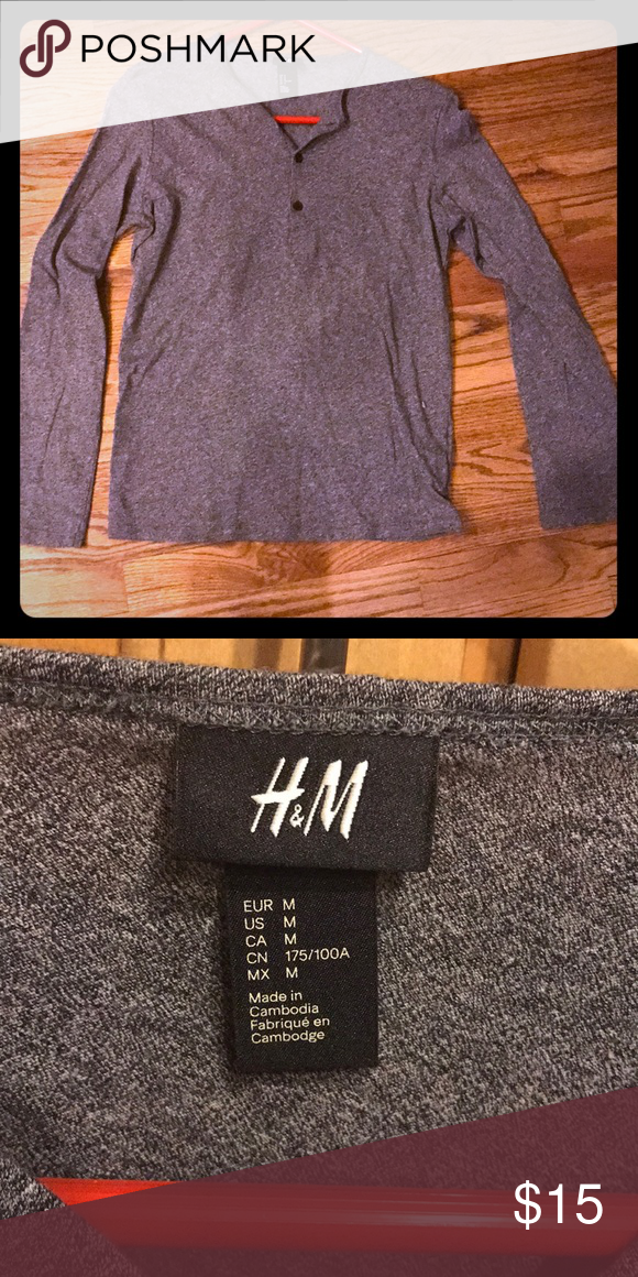 c53d40585e933  BRAND NEW  H M long sleeve Gray h m long sleeve vneck with button up  sleeve Size M 100% cotton H M Shirts Tees - Long Sleeve