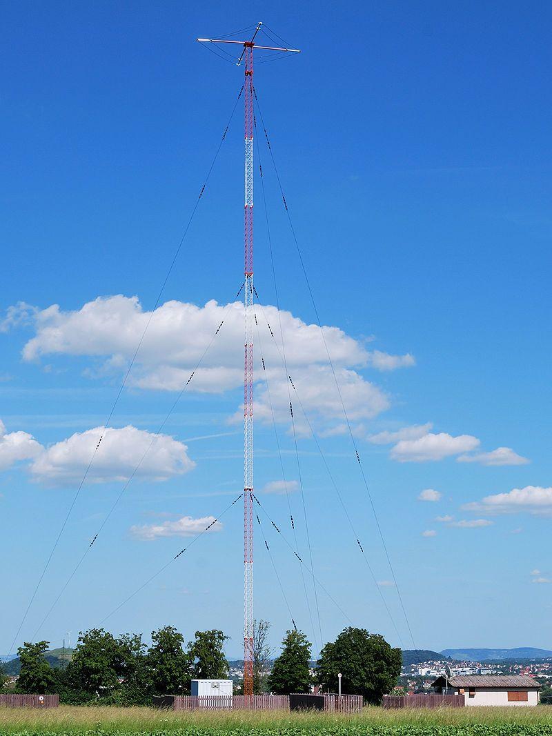 Mast radiator antenna of medium wave AM radio station