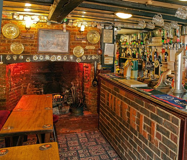 English Pub Home Bar Design: The Huge Fireplace And Tiny Bar Of The 17th Century Bell