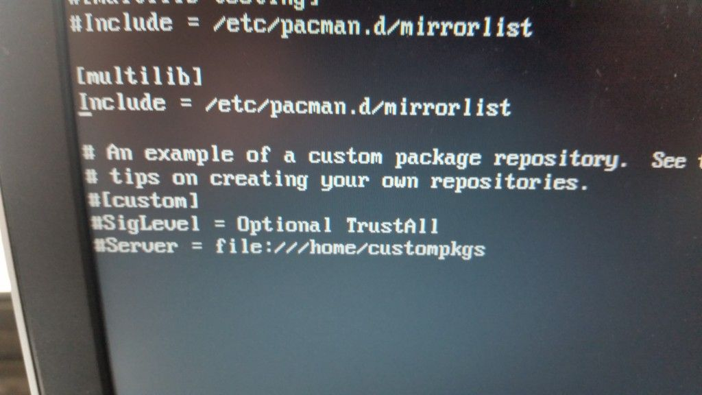 Edit pacman's configuration file with