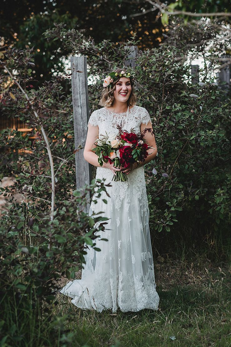 Rustic lace wedding dress  A Rich Berry and Navy Rustic Wedding  Navy rustic wedding Bride