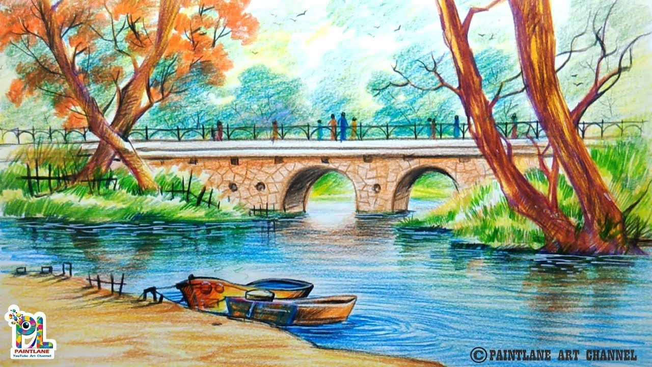 How To Draw A Very Simple Scenery With Bridge For ...