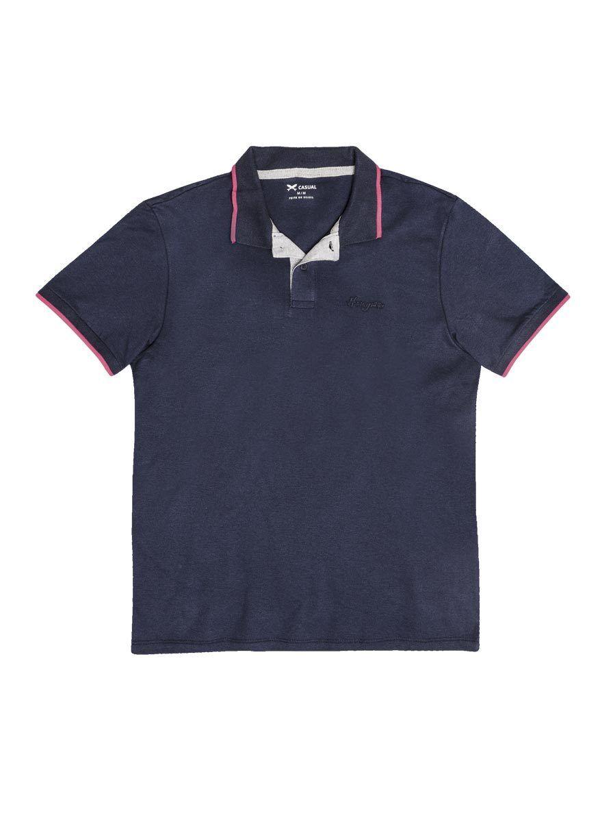 Camisa polo masculina hering básica com contraste de cor na cor azul  marinho em tamanho P 776e4f6923c