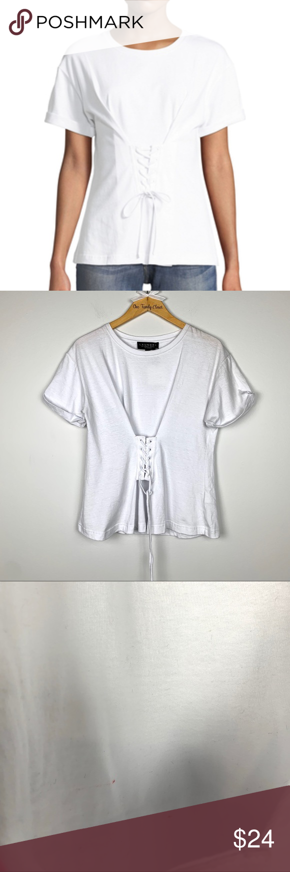 Laundry By Shelli Segal White Shirt With Corset Nwt With Images White Short Sleeve Shirt Clothes Design White Shirt