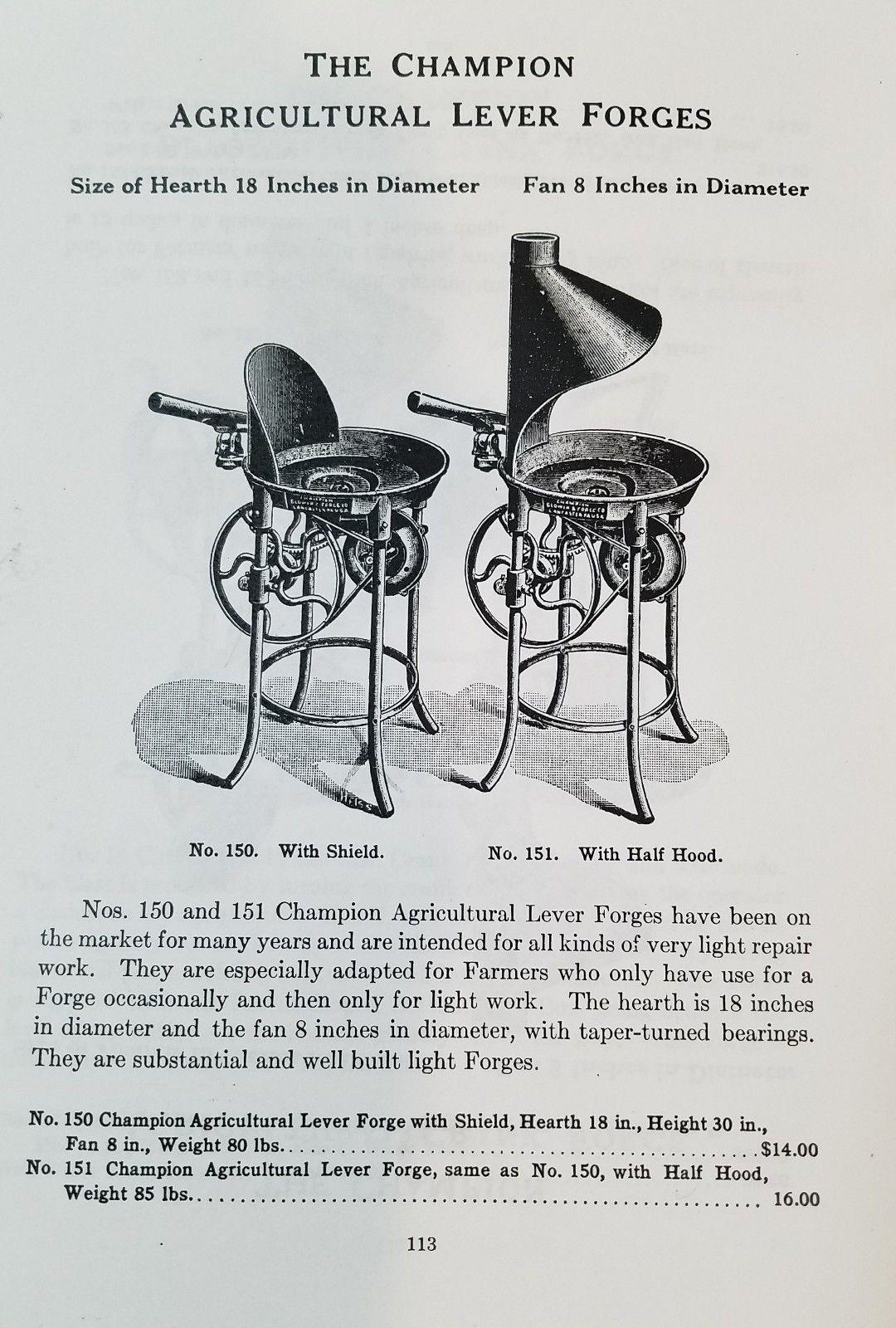 Vintage Champion 150 Blacksmith Coal Pot Forge & Blower