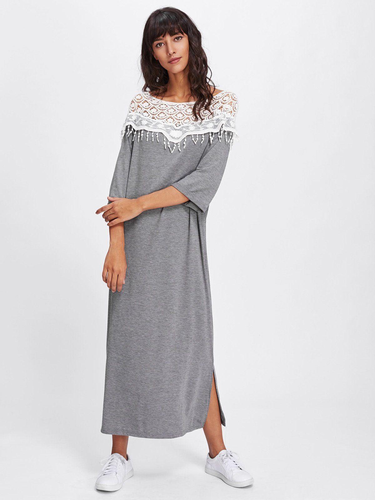 Lace crochet contrast split side dress boat neck casual wear and