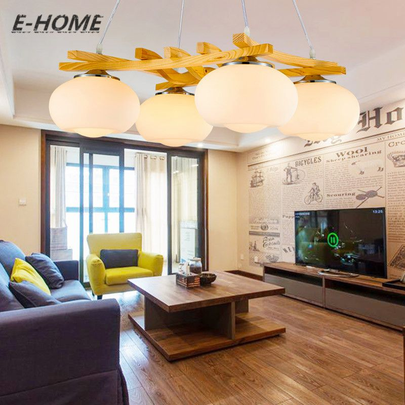 Living Room Chandelier Modern Designer Bedroom Simple Restaurant Nordic  Japanese American Rural Solid Wood Lamps