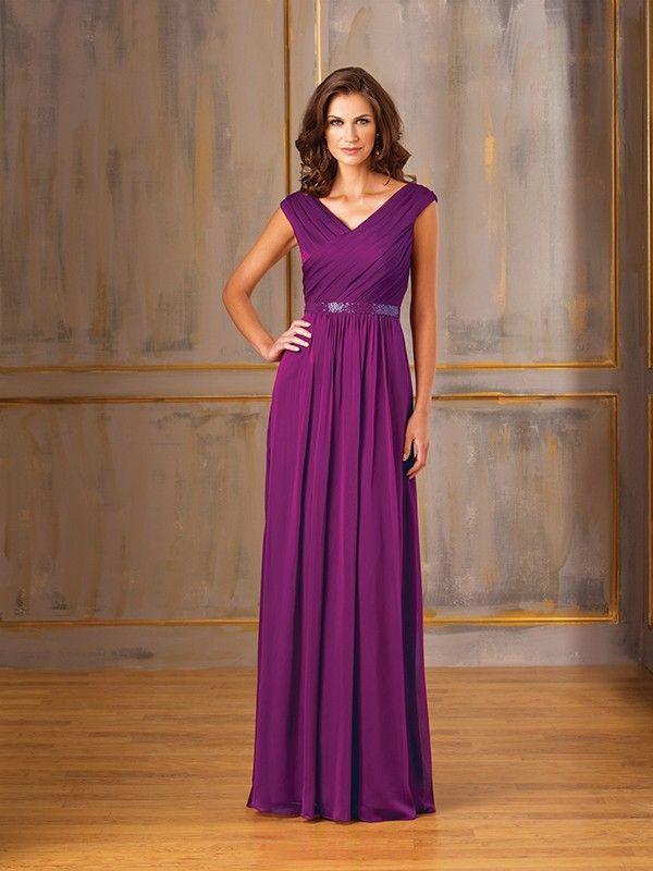 A-Line/Princess V-neck Sleeveless Floor-Length Chiffon Mother of the ...