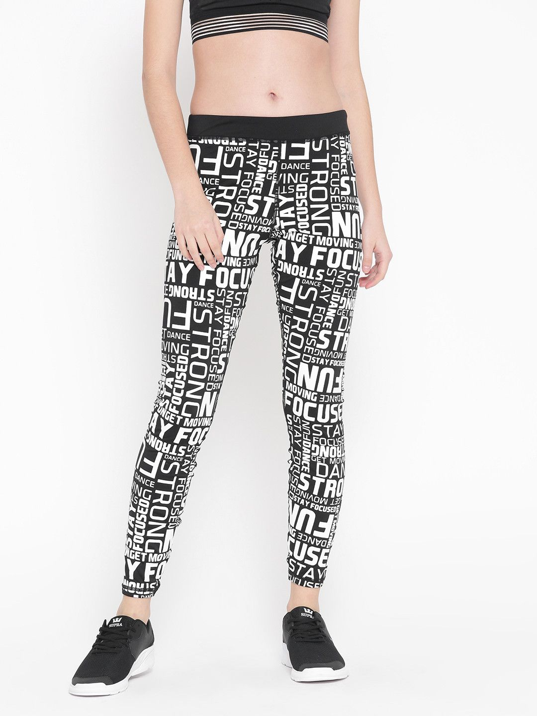 f8308c396ce9c0 Buy FOREVER 21 Black & White Text Print Tights - - Apparel for Women from FOREVER  21 at Rs. 1539 @looksgud