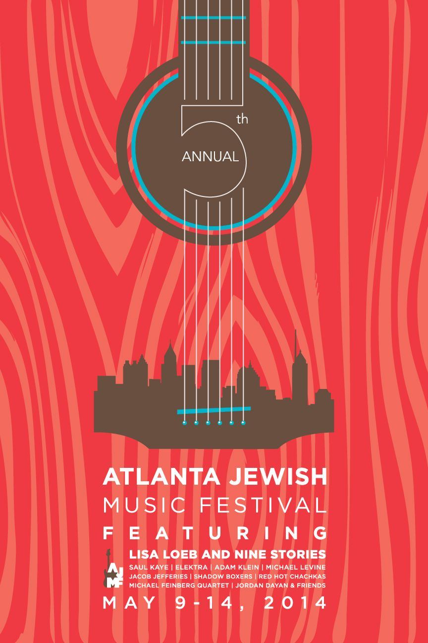A music festival poster that combines both guitar and city ...