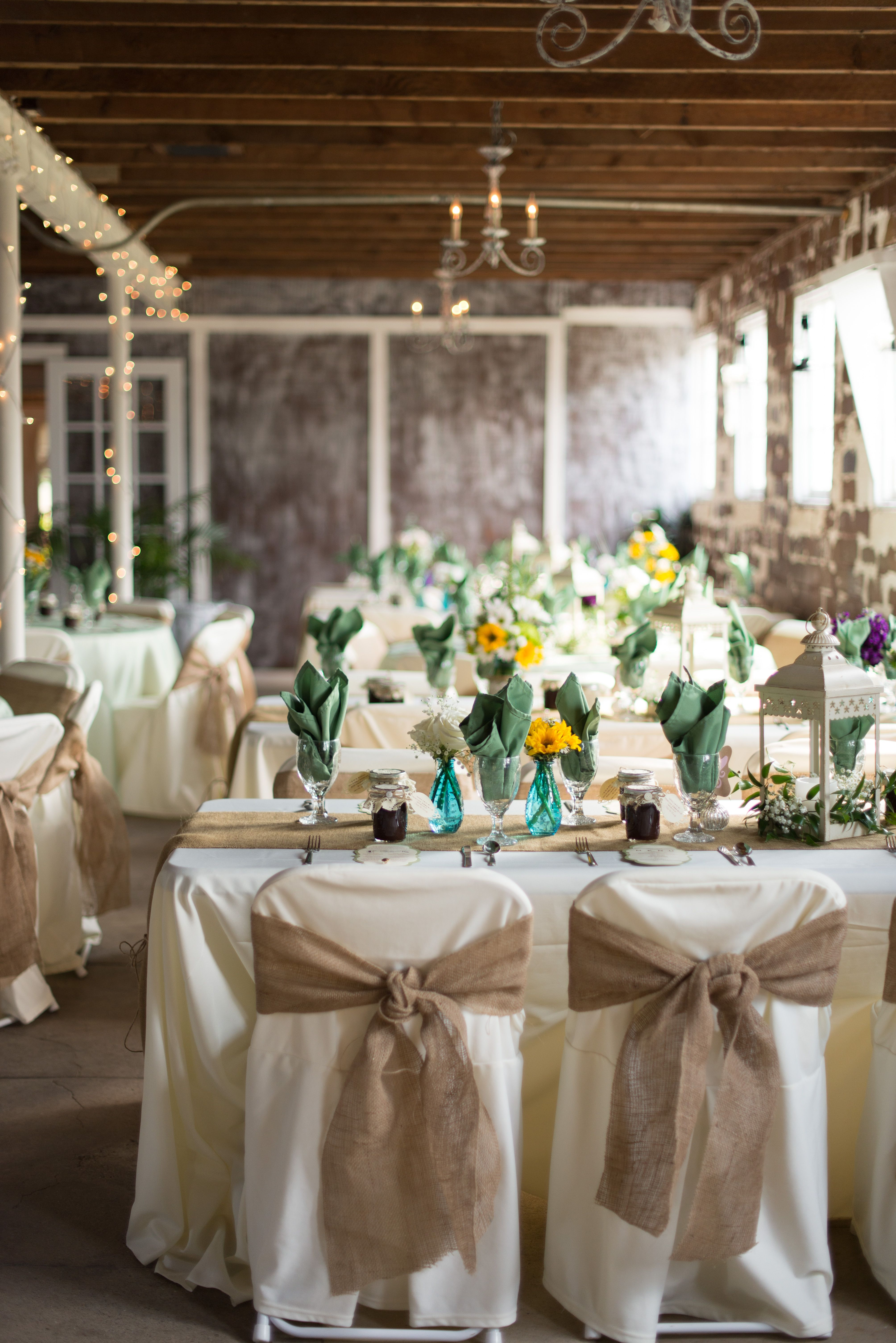 French Country Wedding Barn Reception Ivory Linens Burlap