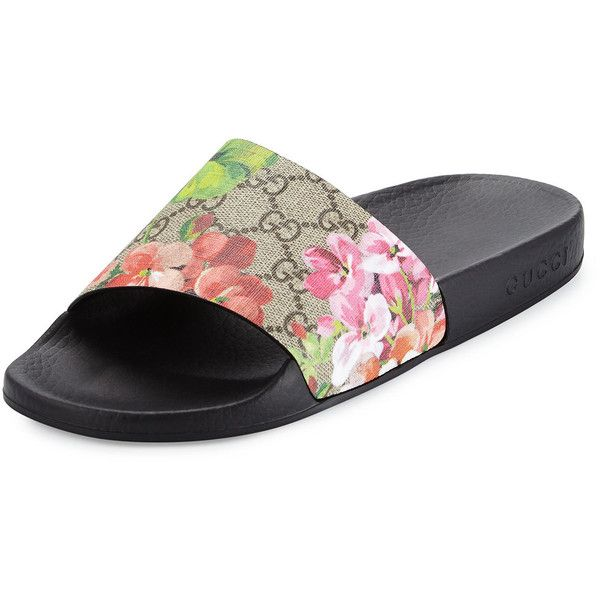 4ac4060e016b Gucci GG Blooms Supreme Slide Sandal ( 280) ❤ liked on Polyvore featuring  shoes
