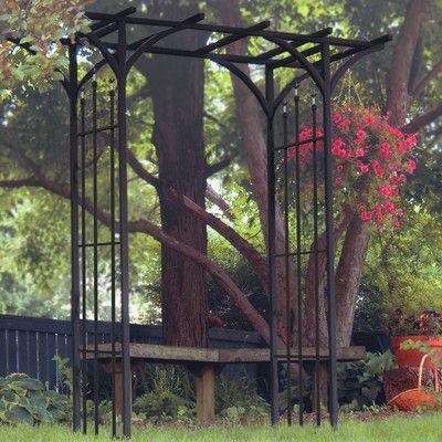 Flat Top Arch Garden Arbor Black Garden Outdoor Gardens